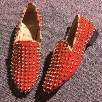 DCCK Cl Christian Louboutin Loafer Style #2373 Sneakers Fashion Shoes