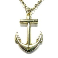 Gold Toned Nautical Anchor Necklace [Jewelry]