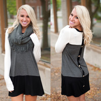 Only With You Tunic (Ivory/Charcoal/Black) - Piace Boutique