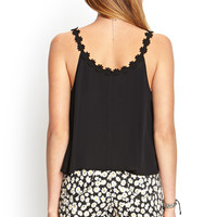 Embroidered Floral Flare Tank
