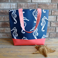 Navy  Seahorse and Coral Vegan Leather Tote