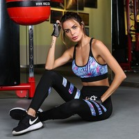 Women's Printed Sports Suits Fitness Yoga Set Sports Bra+Leggings Gym Running Training Workout Sportswear