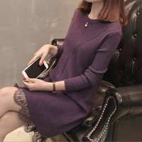 korean winter sweater dress 4 colors casual Stripe knitted dress fish tail woman sweater dress women