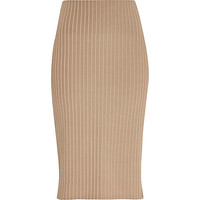 River Island Womens Beige luxe ribbed pencil skirt