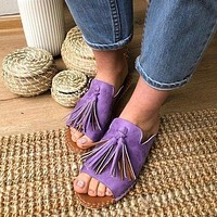 Fashion women's sandals and slippers tassel style lightweight non-slip slippers