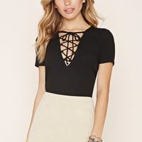 Lace-Up Ribbed Top