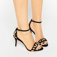 Dune | Dune Maria Leopard Pony Ankle Strap Mid Heeled Sandals at ASOS
