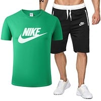 NIKE Trending Men Casual Print Short Sleeve T-Shirt Top Shorts Set Two-Piece Green