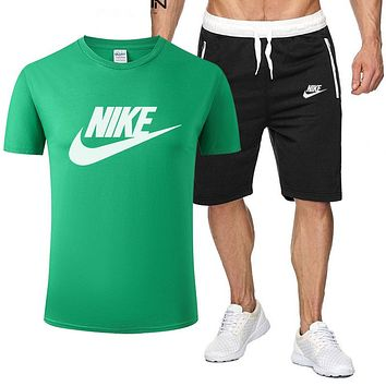 Nike summer men's and women's simple and fashionable short-sleeved T-shirt shorts two-piece set