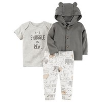 carter's® 3-Piece Babysoft Little Jacket, Shirt, and Pant Set in Grey