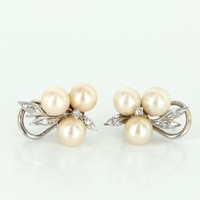 Cultured Pearl Diamond Vintage Cluster Earrings 14 Karat White Gold Estate Jewelry