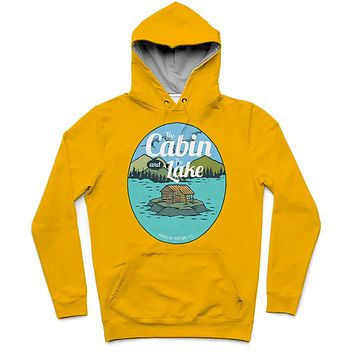 The Cabin And The Lake Trendy All-Over Print Solid Orange Hoodie