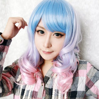 Beautiful Long Curly Anime Cosplay Gothic Lolita Ombre Wig,Colorful Candy Colored synthetic Hair Extension Hair piece 1pcs WIG-229A