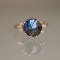 Gemstone Ring - Labradorite Ring - Sterling Silver - Bezel Set Ring - Stackable Ring - Mother's Day Gift