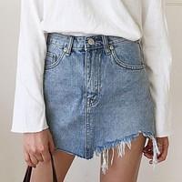 Torn Distressed Denim Skirt