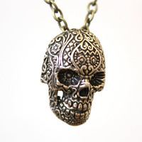 Bronze Sugar Skull Necklace on 24 Chain Day of the Dead by mrd74