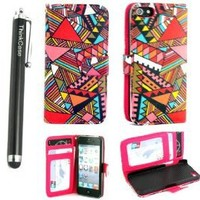 ThinkCase Tribal Design PU leather Wallet PU Leather Case Card Holder Flip Case Cover for iPhone 5 5G Colorful Red with ThinkCase Stylus Pen