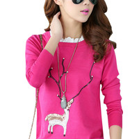 Deer Sequin Lace Paneled Knitted Pullover Sweater