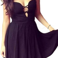 International Shipping Black Backless Cut Out Bownot Mini Party Evening Prom Strappy Dress for Women.