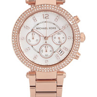 Michael Kors - Parker Swarovski crystal-embellished rose gold-tone watch