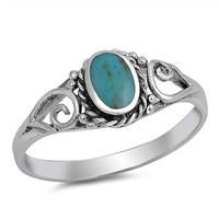 Sterling Silver Stabilized Turquoise Band Ring Jewelry