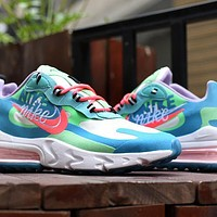 NIKE AIR MAX 270 REACT joint foam air cushion sports casual running shoes Blue Pink