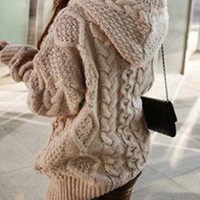 Stylish Women's Cable-Knit Hooded Cardigan,sweaters = 1920150532