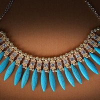 Tribal Gold and Turquoise Bib Necklace