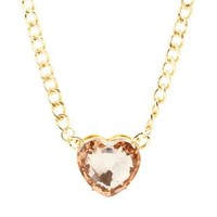 Pale Peach Jumbo Heart Charm Necklace by Charlotte Russe