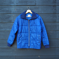 70s Vintage Ski Jacket, DESCENT Blue Puffy Winter Jacket, Freaks and Geeks Fitted Retro Puffer Jacket, Quilted Ski Coat Medium Large