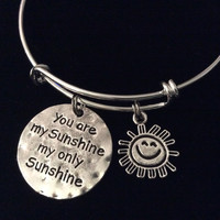 You are My Sunshine My only Sunshine Expandable Silver Charm Bracelet Adjustable Wire Bangle