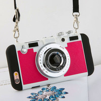 Photo Camera Cases For iPhone Models Red Rose