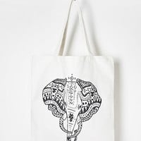 Tribal-Inspired Elephant Graphic Tote