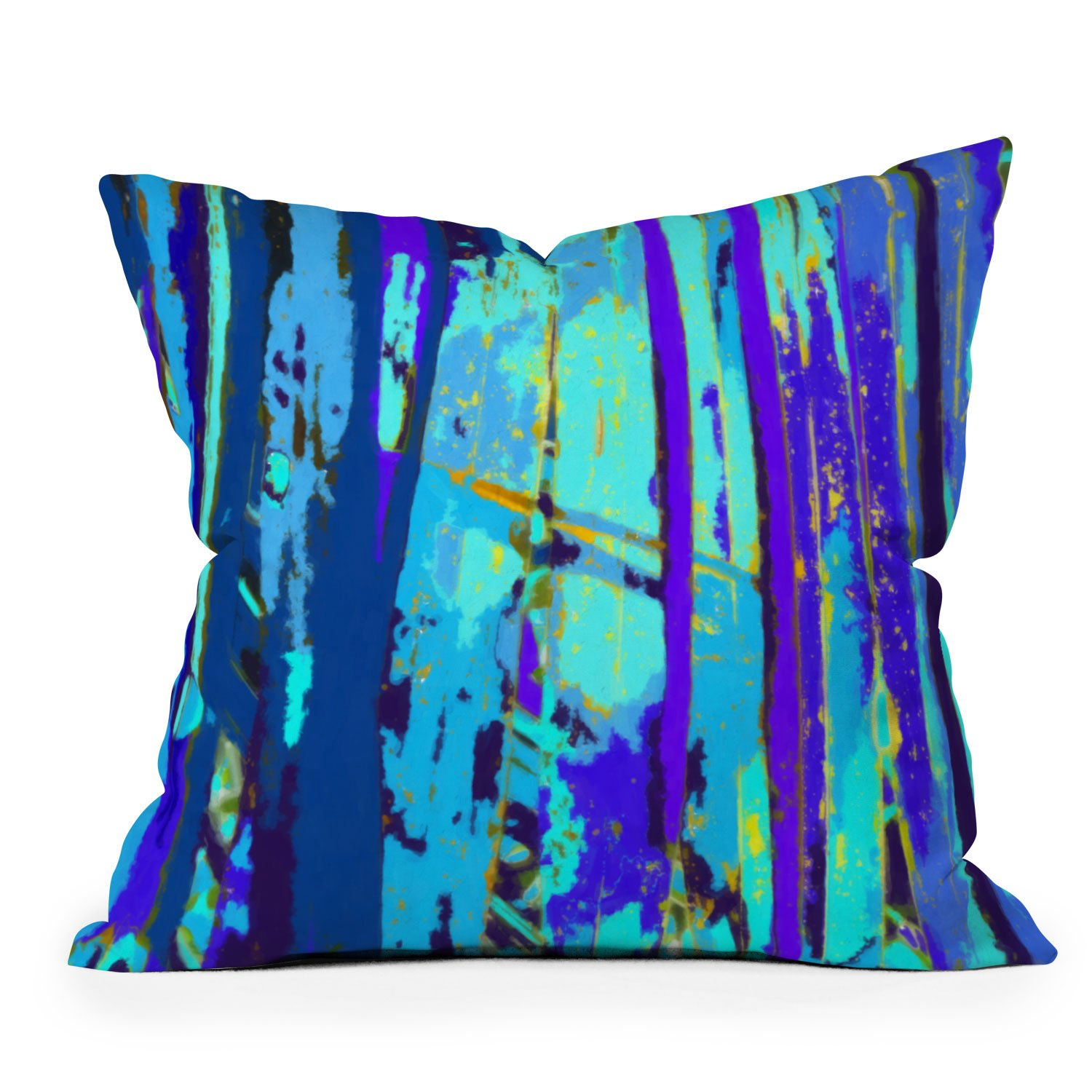 Image of Rosie Brown Blue Palms 2 Outdoor Throw Pillow