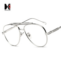 SHAUNA 8 Colors Metal Frame Women Round Sunglasses Fashion Men Pilot Reflective/Clear Lens Glasses