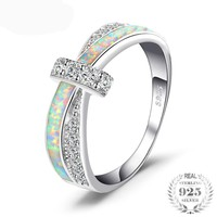 Opal Crossover Sterling Silver Band Ring