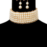 "12"" faux pearl layered choker collar bib necklace .75"" earrings bridal pageant"