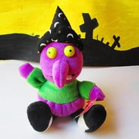 Plush Witch Doll Toy Vintage Stuffed Witch Purple Green w Black Hat Moon & Stars Softouch New Unused w Tag Halloween Home Decor Children Kid