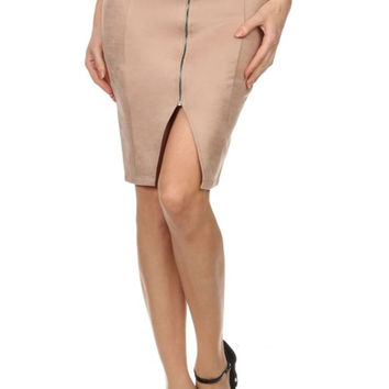 Solid Zip Front High Waisted Pencil Skirt
