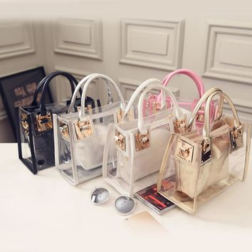 2pcs 2017 New Fashion Women Clear Transparent Shoulder Bag Jelly Candy Summer Beach Handbag Woman Messenger Bags Bolsa Feminina