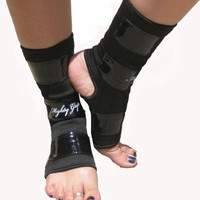 Black Mighty Grip Pole Dancing Ankle Protectors with Tack Strips for Gripping the Pole (1 pair)
