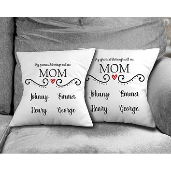 Personalized Throw Pillow   Custom Decorative Pillow   Mom's Greatest Blessing