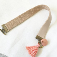 Soft Pearlized Leather Band in Tan with Coral Faceted Bead and Coral Tassel Size 6-6 3/4 Toggle Clasp in Antique Bronze