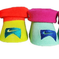New Nike Baby Booties Crib Shoes, Mint Green (Multi-Colored), 0-6 Months 2 Pair.