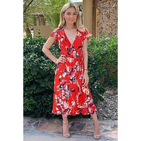 Daydream Red Floral Print Wrap High Low Maxi Dress