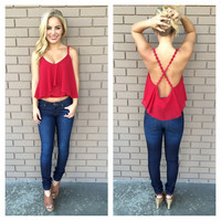 Red Low Back Crochet Crop Tank