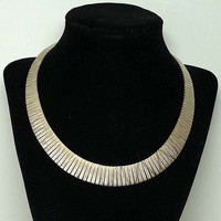 Retro Sterling Silver Necklace - Modernist Etched Design - Made in Italy