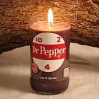 Upcycled Soda Bottle Candle, Upcycled Dr. Pepper Bottle, Highly Scented in Dr. Pepper Fragrance
