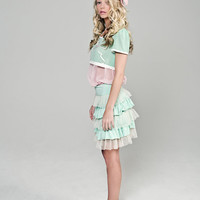 Mint and Pink Sweet Lolita Inspired Dress with by lepopprincess