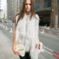 Faux Fur Asymmetrical Sleeveless Coat